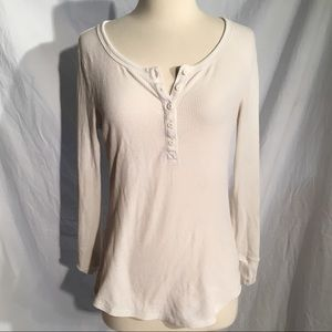 GAP the Octavia waffle Henley white top